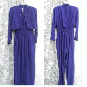Vintage Joan Walters Purple jumpsuit faux jacket